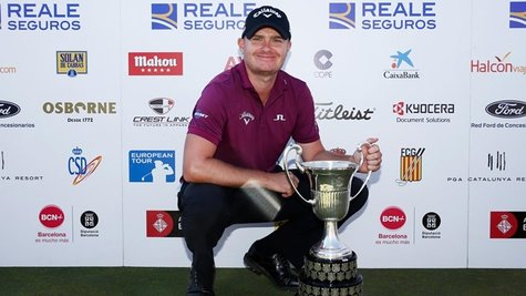 """BARCELONA, SPAIN - MAY 17:  James Morrison of England poses with the Trophy after winning the Open de Espana held at Real Club de Golf el Prat on May 17, 2015 in Barcelona, Spain.  (Photo by Dean Mouhtaropoulos/Getty Images)"""
